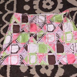 Milly size 10 silk short skirt pink green brown 10